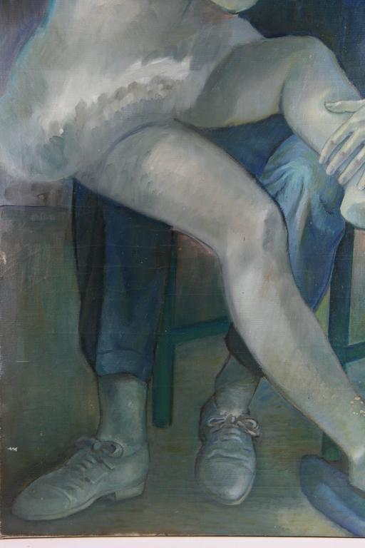 #5-106 A large scale of vintage  figurative  painting, original oil  on canvas in shades of blue .Unframed.Artist unknown