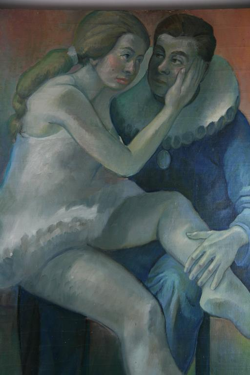 Resting Performers Painting - Gray Figurative Painting by Unknown