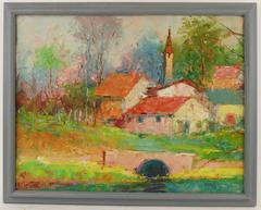 Quaint French  Village Painting