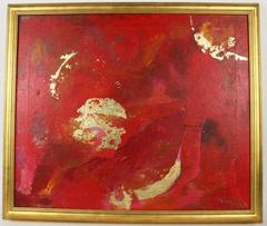 Red and Gold Abstract Painting
