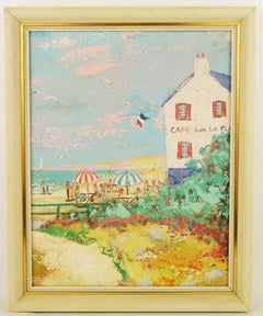 French Riviera Cafe Sur lePlage Landscape  Painting