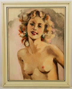 Pin Up Nude Gouache Painting