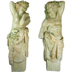 Pair Neoclassical Plaster Wall Figures Sculpture