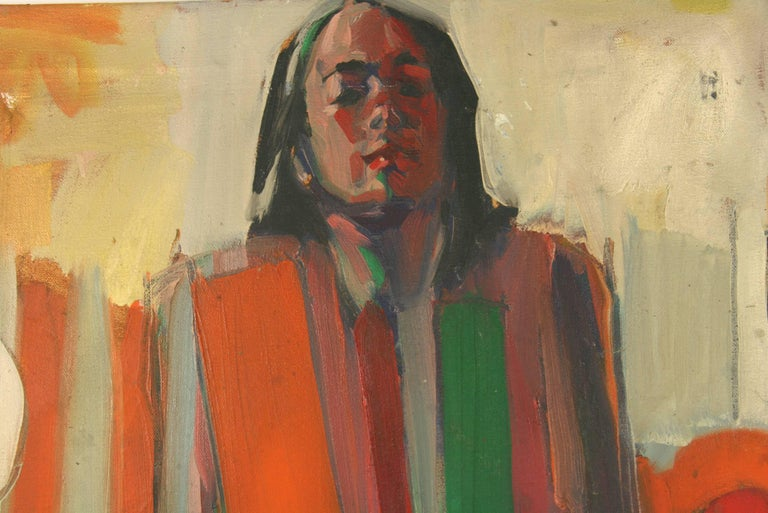 #5-2608 A 1979's figurative painting ,abstrct oil on canvas,signed by Reed Farrington. Unframed