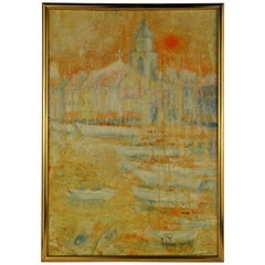 Abstract California Mission Sunset Landscape   Painting