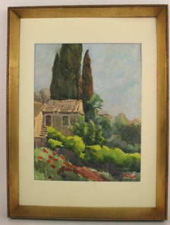 French Coutry House  Landscape Watercolor
