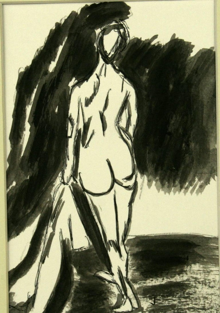 #5-2946 A Female Nude ,black gouache on paper displayed in a  mat and wood frame under glass.Image size 7.3/4 H x 5 W Artist unknown
