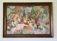 Large Scale Persian Hunt Landscape Painting