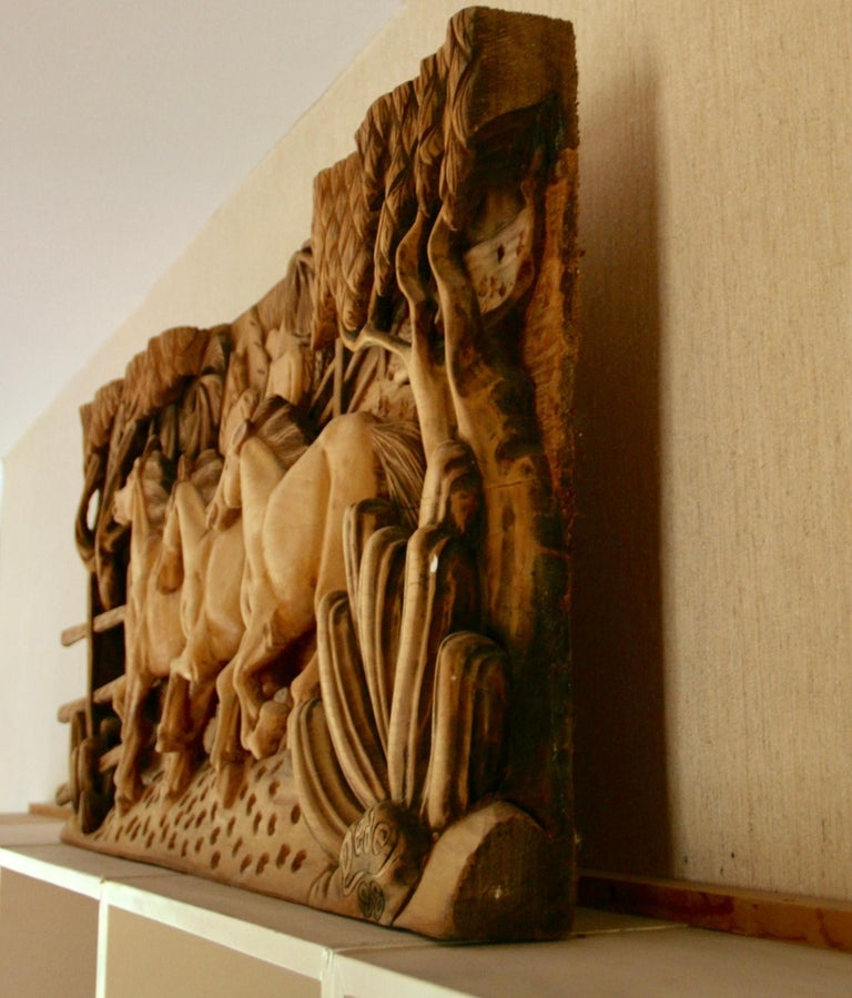 Large Scale Western Wood Sculpture For Sale 5