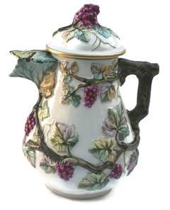 Antique Porcelain Grape Vine Covered Pitcher