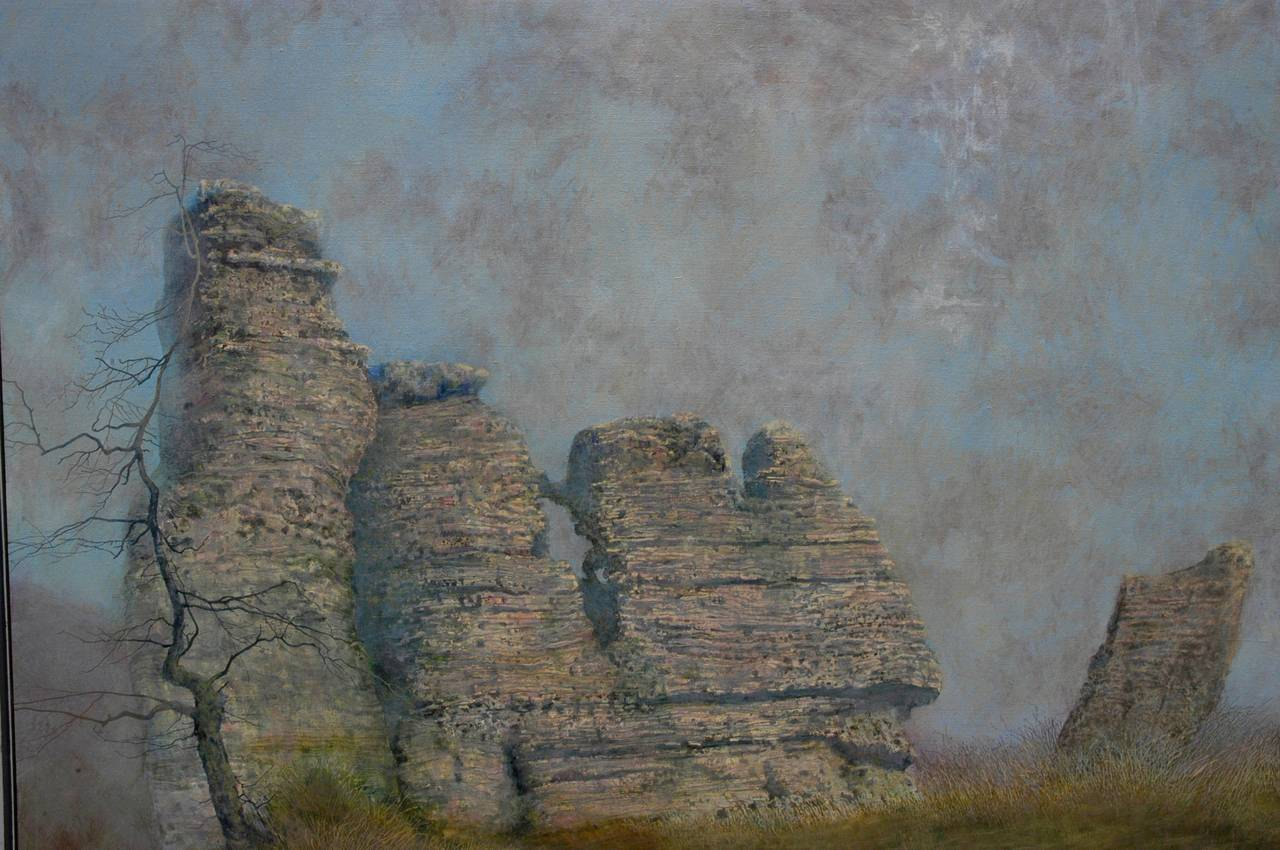 Ancient Rock Formations  - American Impressionist Painting by Charles Brindley