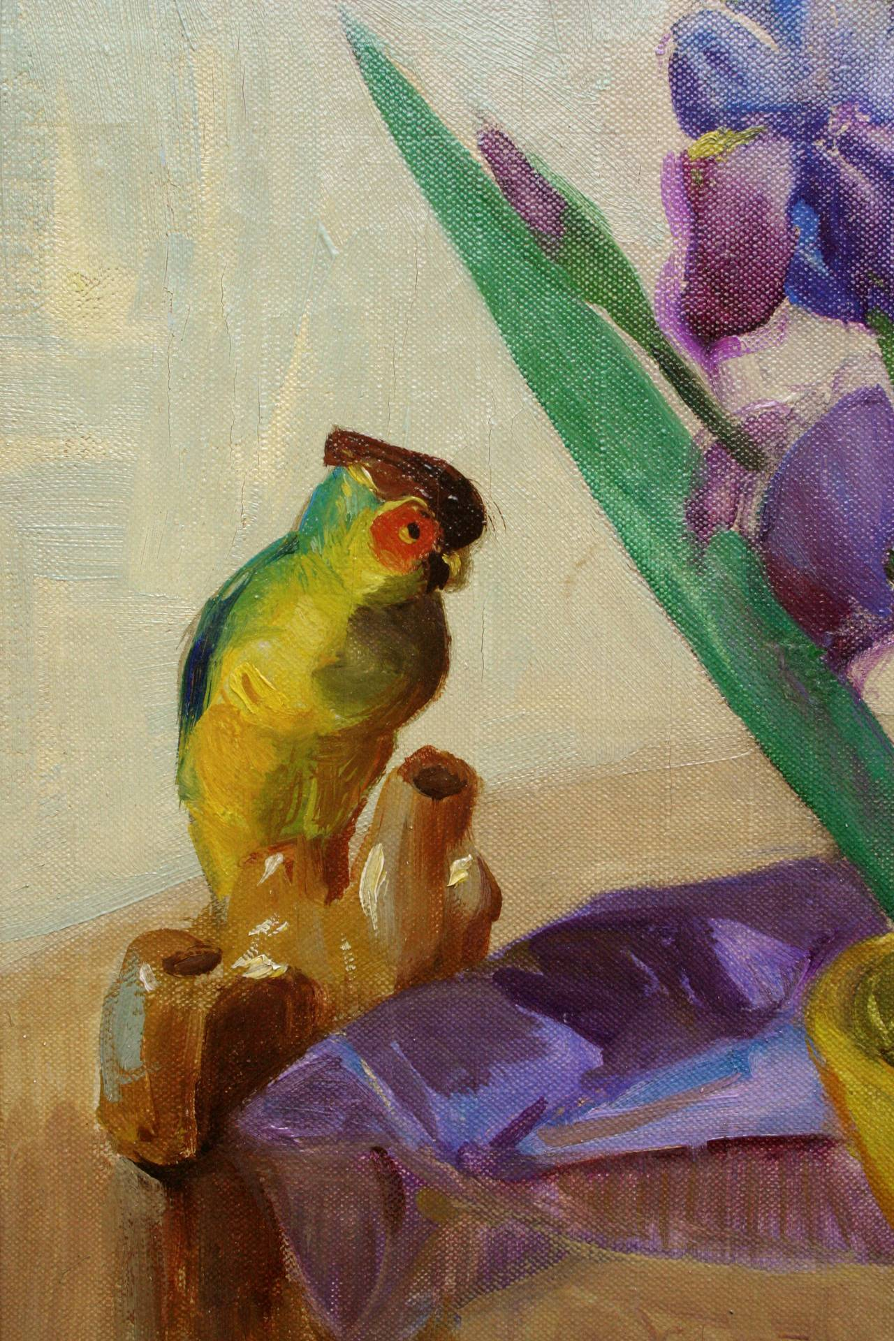 Mid Century Bearded Irises and Parrot Still Life - American Impressionist Painting by Nell Walker Warner