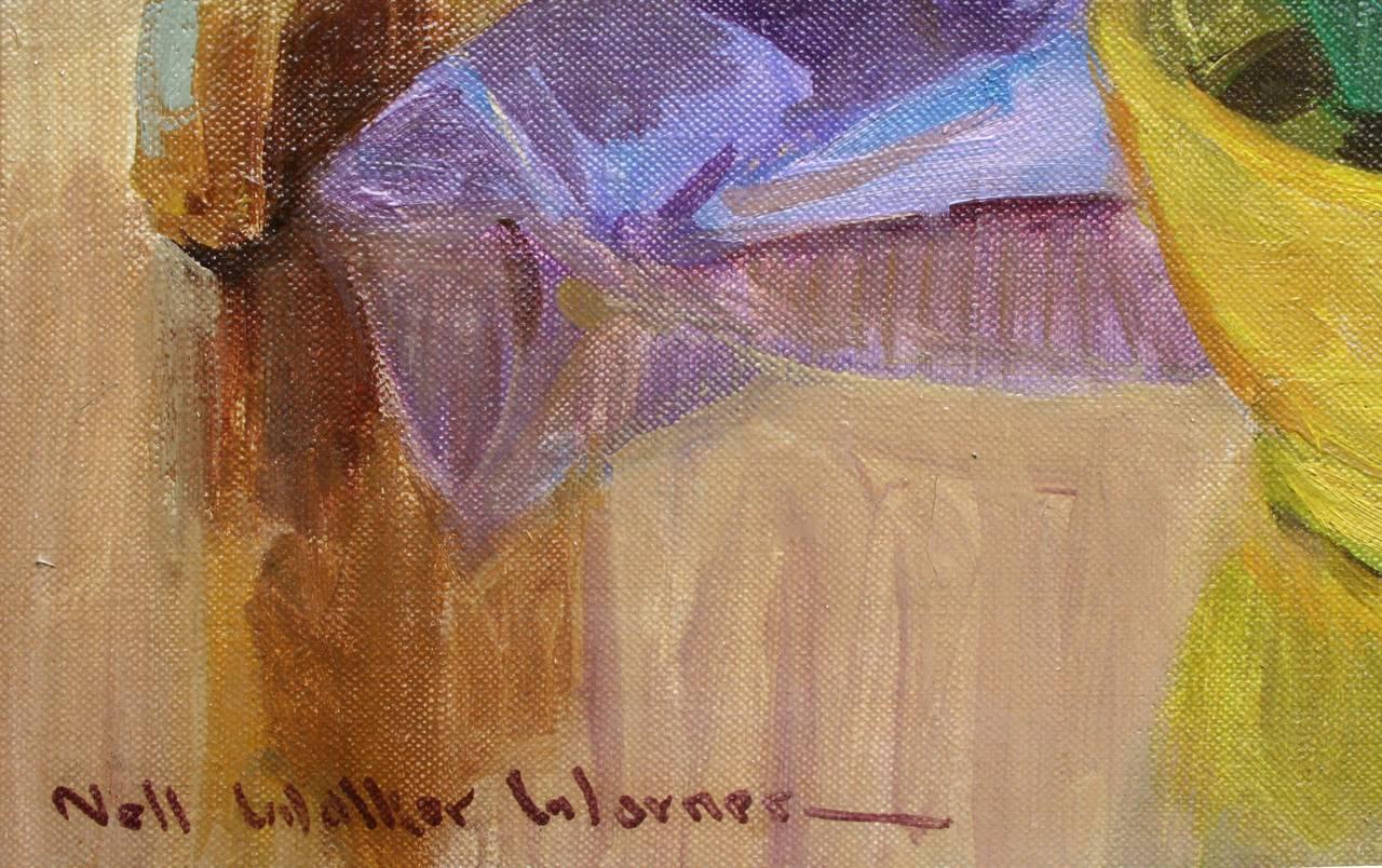 Mid Century Bearded Irises and Parrot Still Life - Black Still-Life Painting by Nell Walker Warner