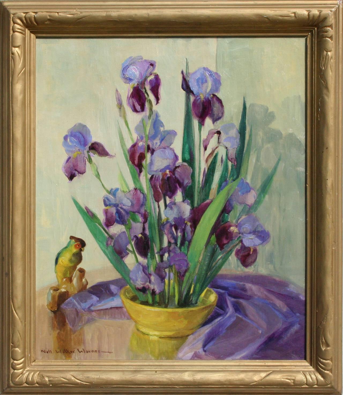 Mid Century Bearded Irises and Parrot Still Life