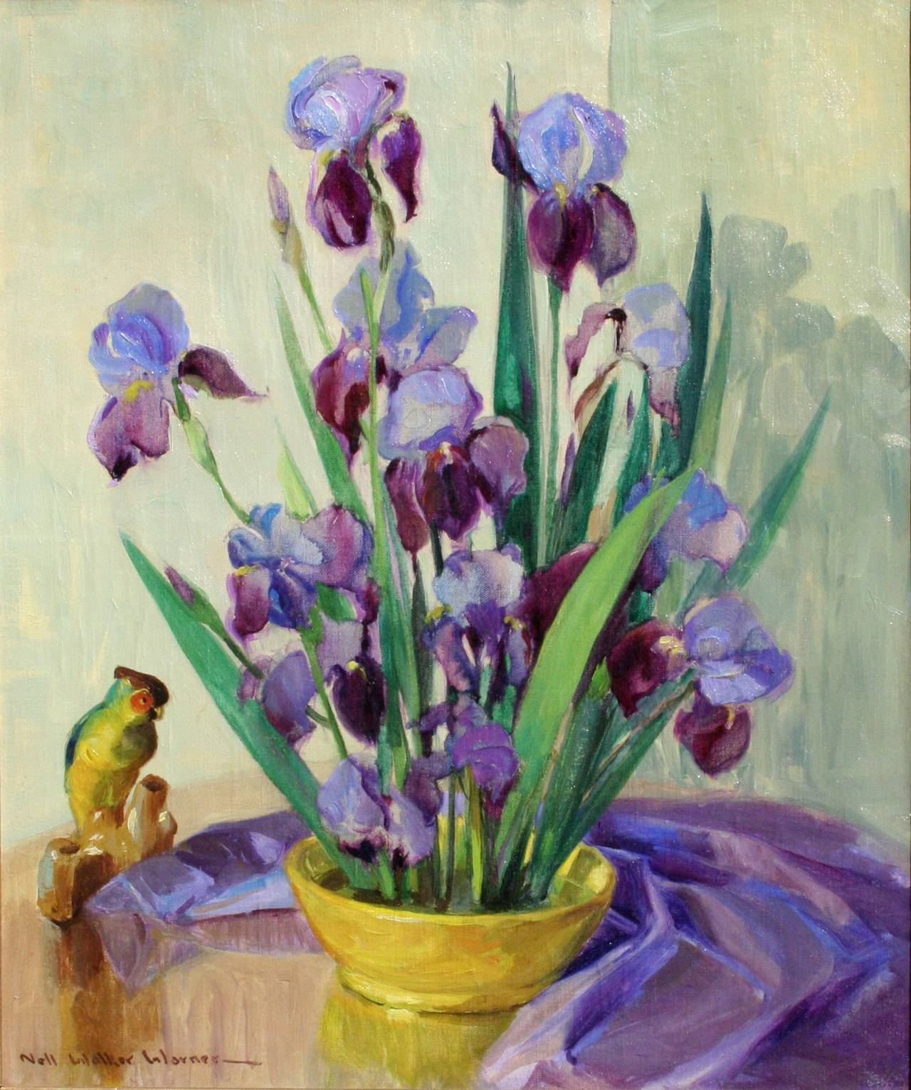 Mid Century Bearded Irises and Parrot Still Life - Painting by Nell Walker Warner