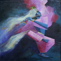 The Flute Player - Cubist Figurative Abstract