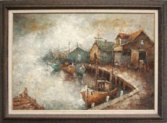 Boats at the Old Wharf - Mid Century Impasto Landscape