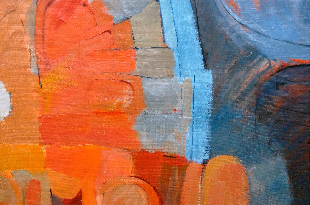 robert collins blue orange abstract painting for sale at 1stdibs. Black Bedroom Furniture Sets. Home Design Ideas