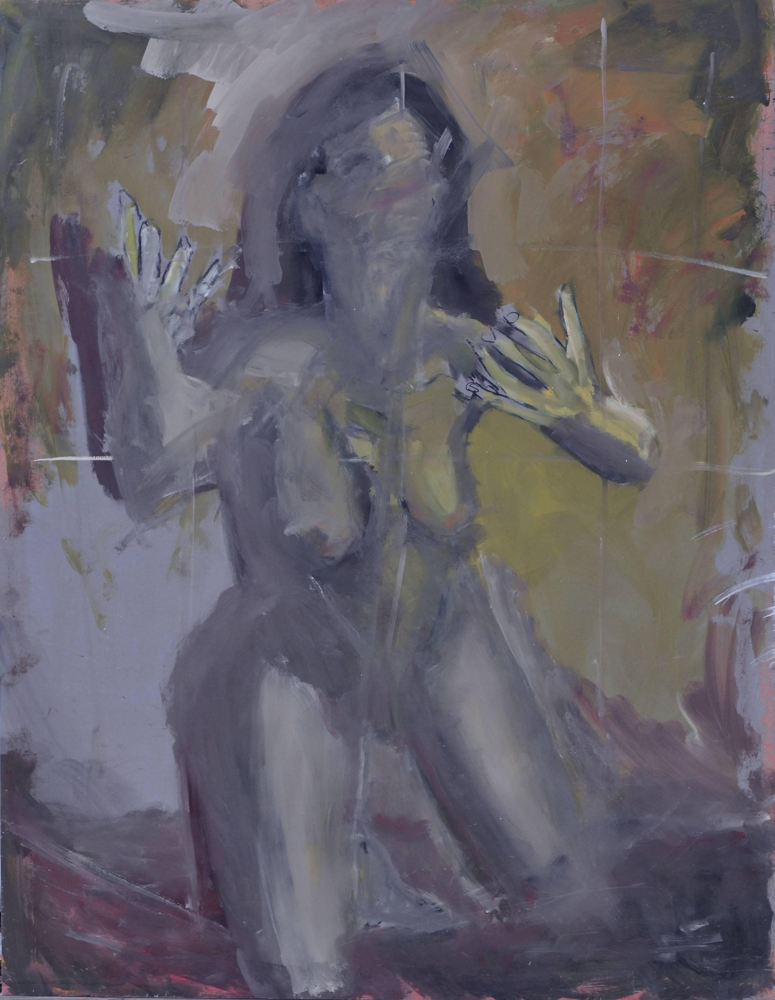 Female Nude in the Shadows - Figurative Abstract