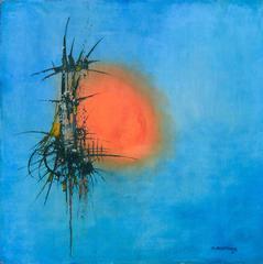 Mid Century Orange Sun Abstract