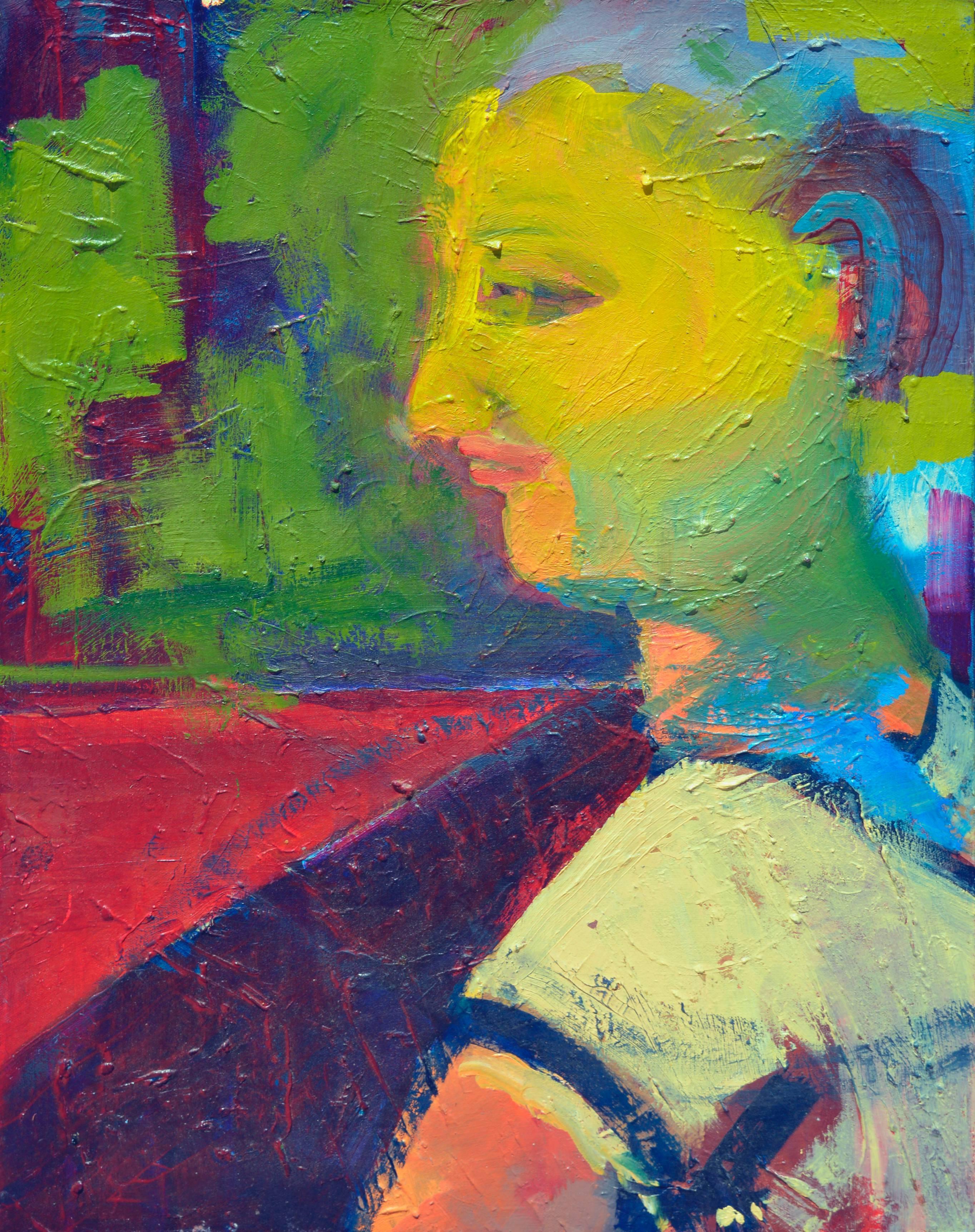 Child in Chicken Yard Fauvist Abstract Expressionist Portrait