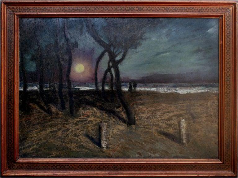 Ferdinand Burgdorff Landscape Painting - Mid Century Pacific Grove Moonlight Nocturnal Landscape