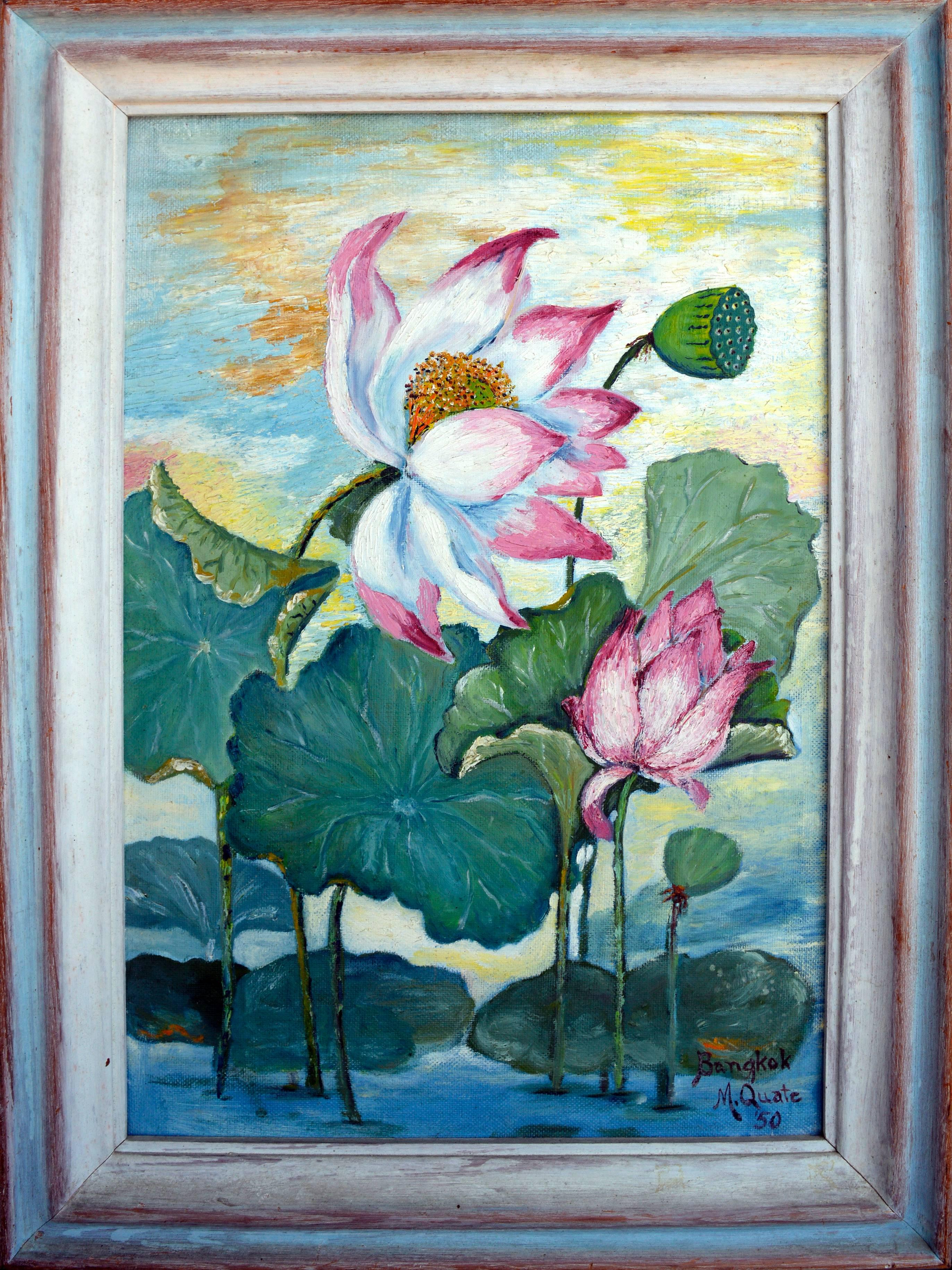 Mid Century Lotus Still Life Floral and Landscape, Double Sided