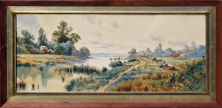 Excellent early Pennsylvania watercolor by Bucks County Pennsylvania artist John Howell Wilson (American, B-1849). Bucolic scene along the Erie river in Pennsylvania circa 1899. He was well known for his bucolic landscapes in oil and watercolor. In