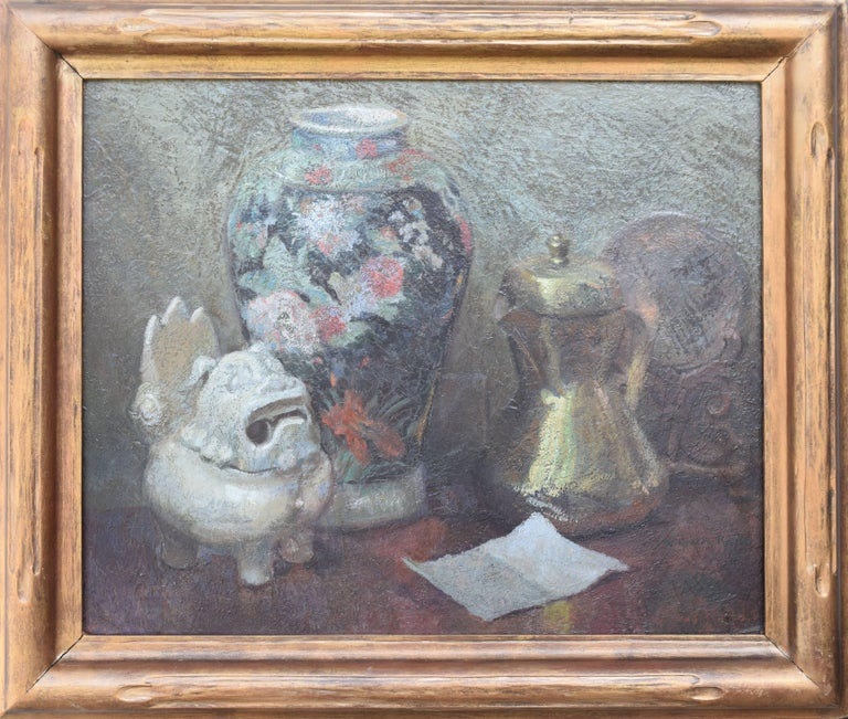 Wilfred A. Readio Still-Life Painting - Still Life with Japanese Shisa