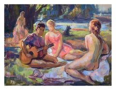 Picnic in the Park - Mid Century Figurative Landscape