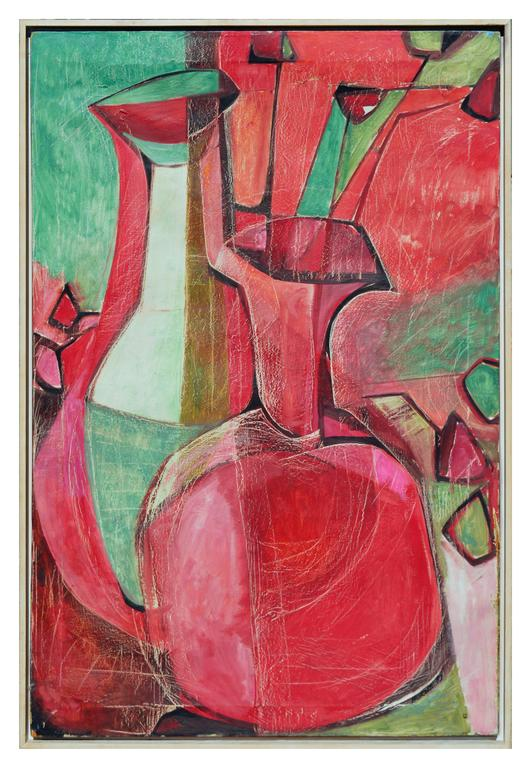 """Exceptional painting by Robert Burns a California Central Valley and San Francisco Abstract Expressionist. Image, 36""""H x 24""""W. In a wood frame. Has had restoration to a few tears upper left and lower right on the side border of canvas."""