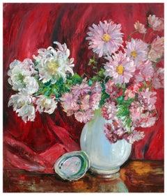 Spring Dahlias - Mid Century Floral Still Life