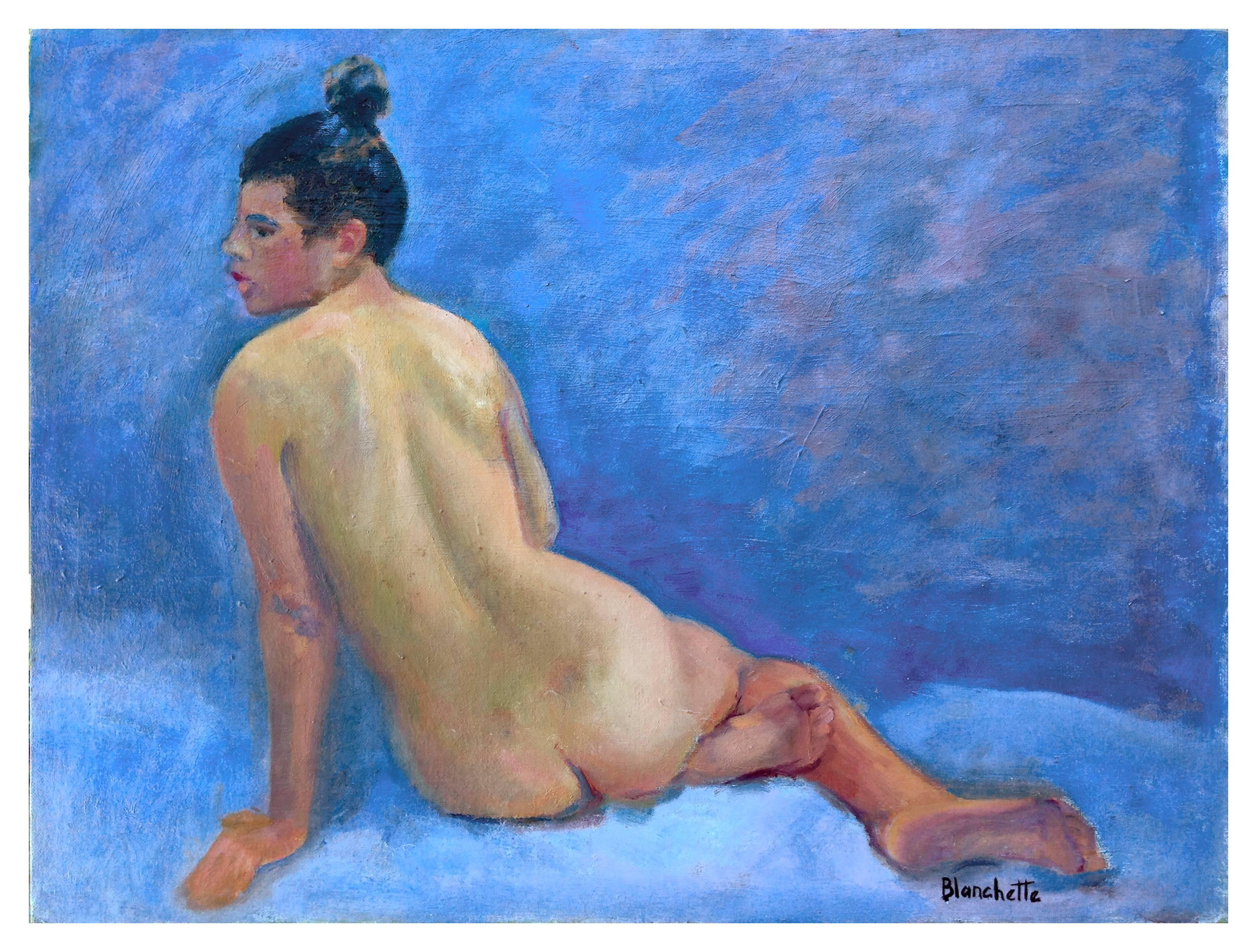 Midcentury Nude Study - Female Figure Painting