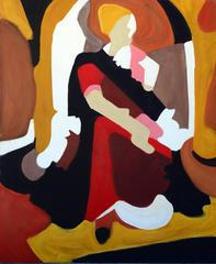 Figure in Ochre, White, Black & Red by Les Anderson