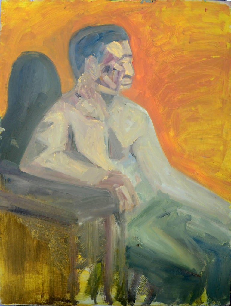 Duo Verso Male Figures  - Abstract Expressionist Painting by Daniel David Fuentes