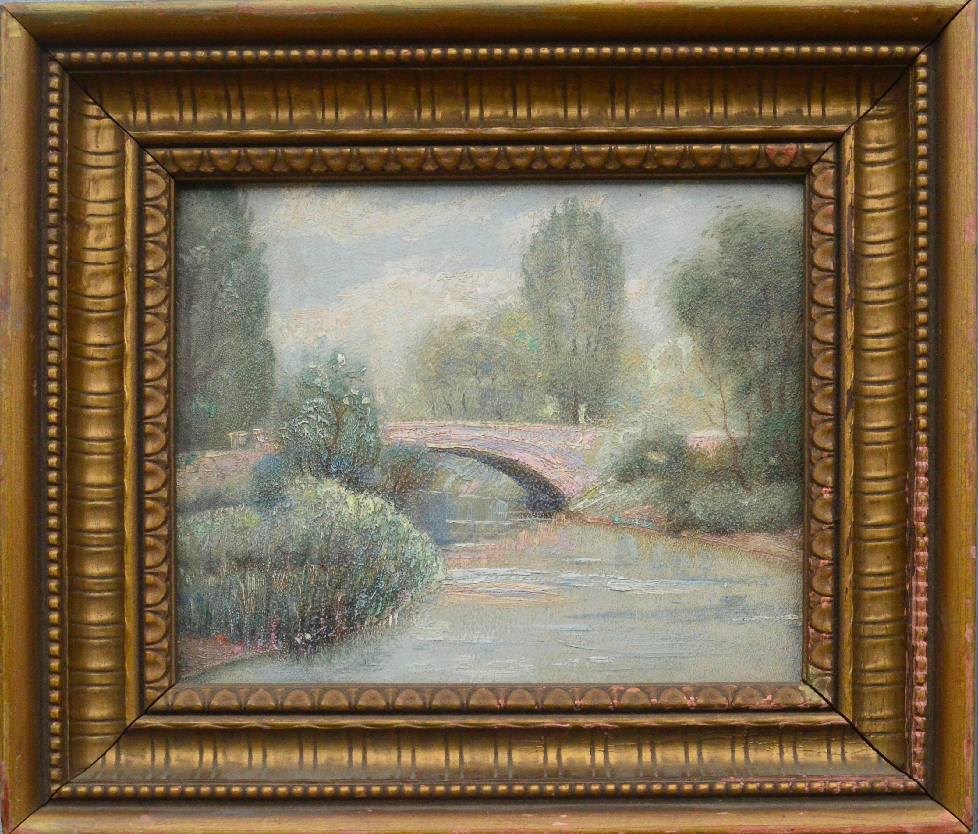 Early 20th Century Central Park Bridge Landscape