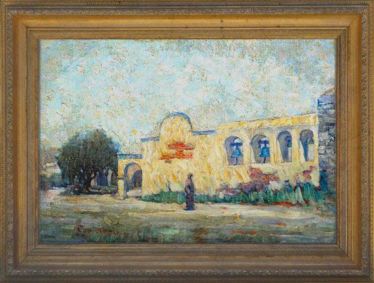 Warren E. Rollins Landscape Painting - Early 20th Century Mission San Juan Capistrano Landscape