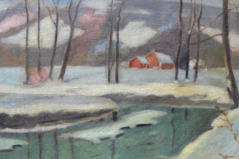 A Winters Night Landscape - Painting by Frederick R. Wagner