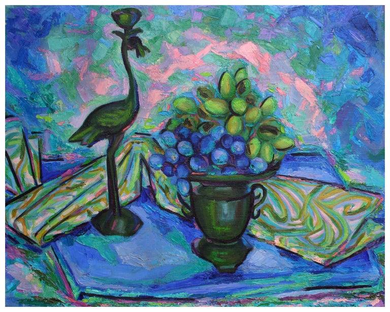 Virginia Rogers Still-Life Painting - Green & Blue Study