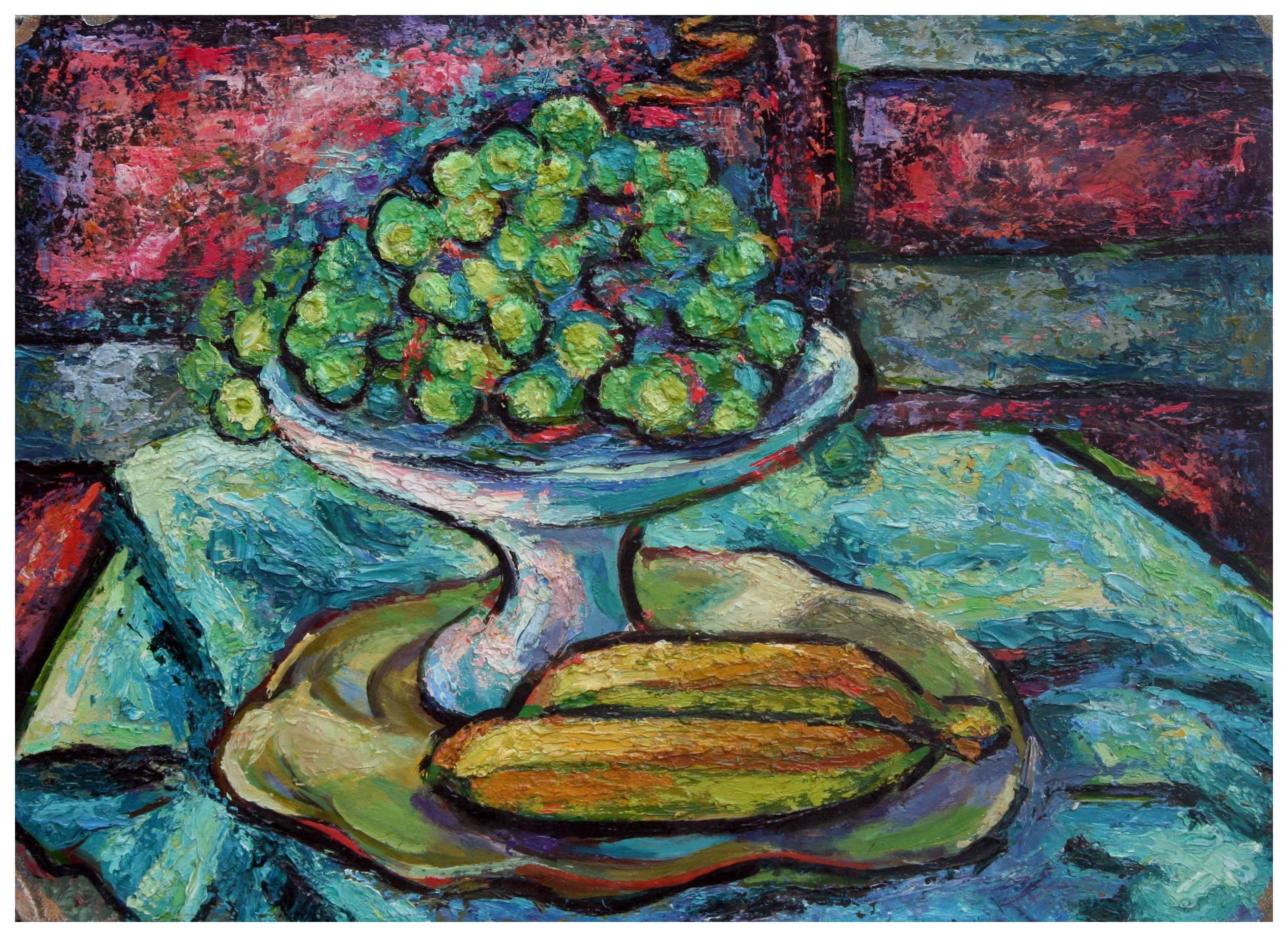Mid Century Abstracted Grapes and Bananas Still Life
