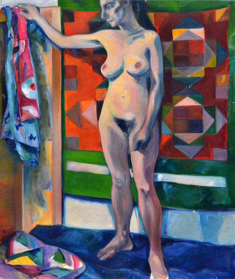 Rebecca Hall Figurative Painting - Woman with Tapestry - Nude Figurative