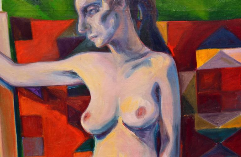 Woman with Tapestry - Nude Figurative  - American Impressionist Painting by Rebecca Hall