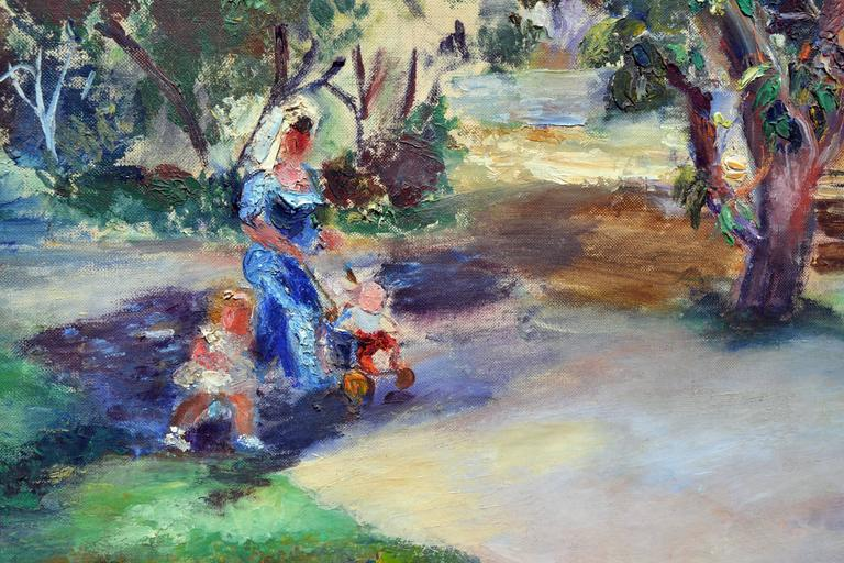 Stroll in the Park - Abstract Impressionist Painting by Frances Beatrice Lieberman