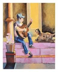 Man, and his Guitiar Serenading His Dog