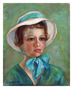 Mid Century Portrait of a Girl in Bonnet