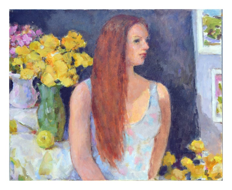 Patricia Emrich Gillfillan Figurative Painting - Yellow Roses, Portrait