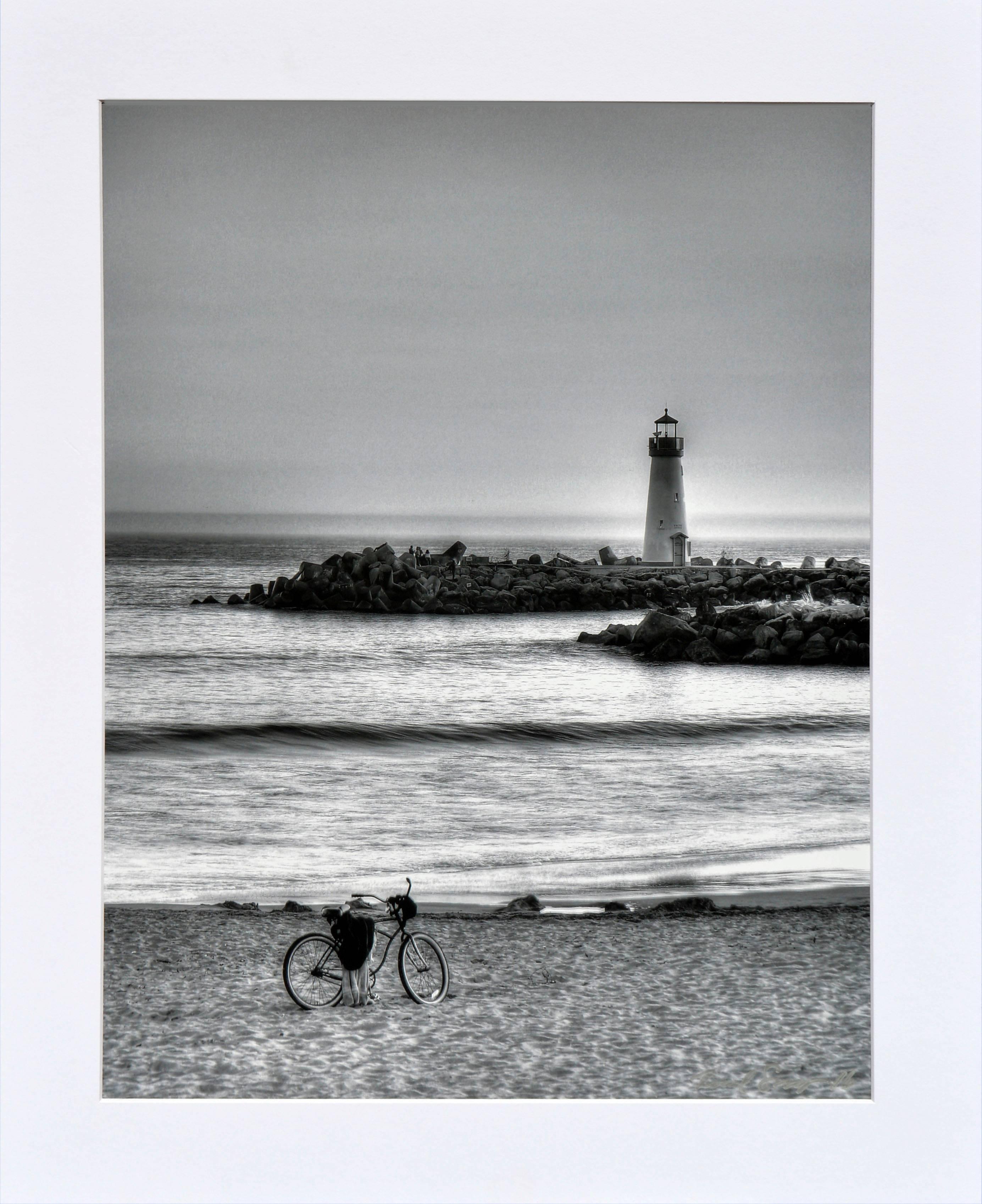 Lighthouse with Beach Cruiser - Black & White Landscape Photograph