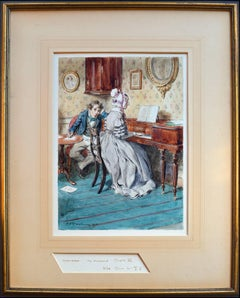"""""""The Newcomes, Chapter XI"""" - Early 20th Century Figurative Watercolor with Piano"""