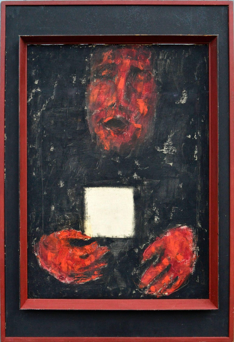 Unknown Landscape Painting - Red Hands White Card