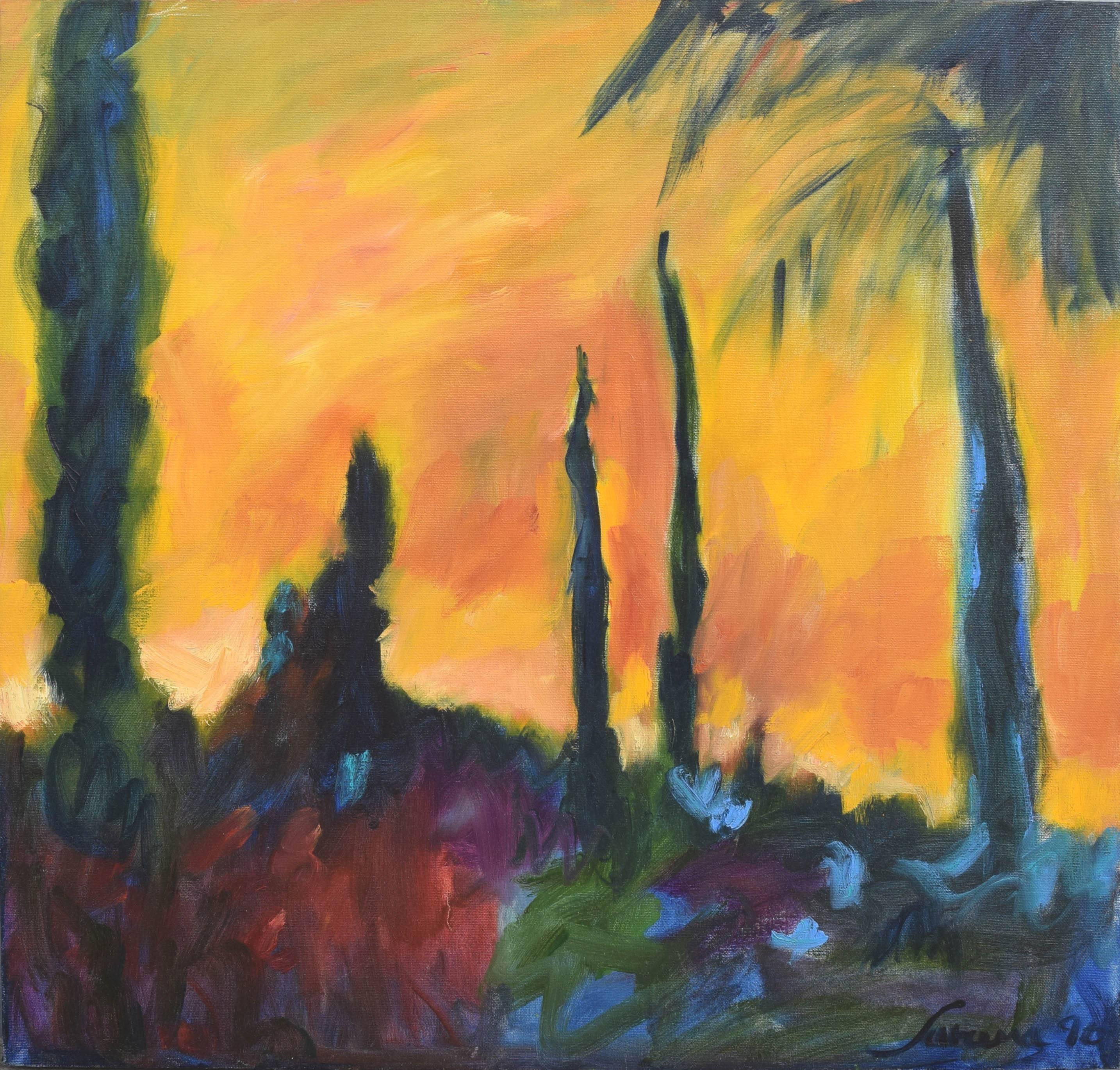 Fauvist Sunset & Cypress Trees